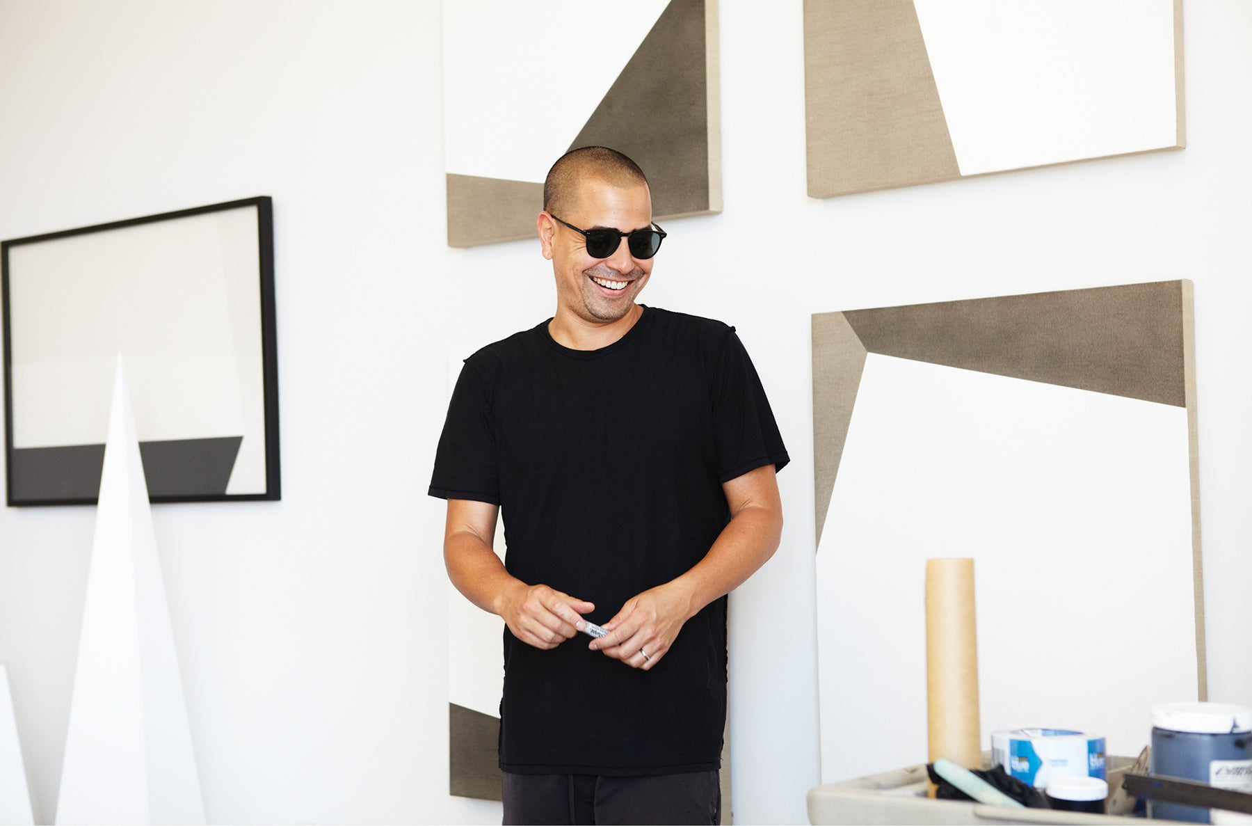 Tofer Chin studio, in Garrett Leight Brooks Sunglass