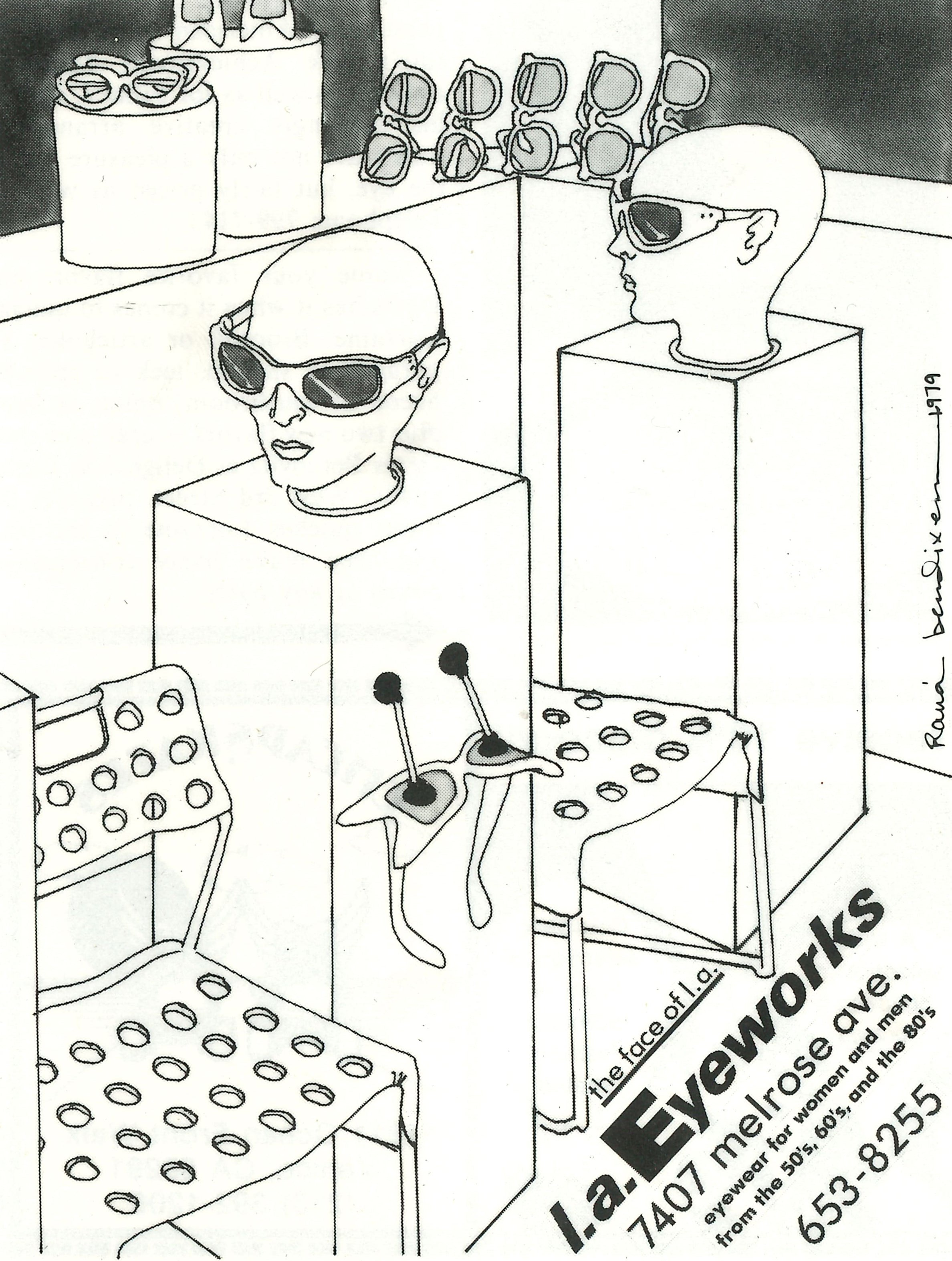 An early line drawing ad for l.a.Eyeworks