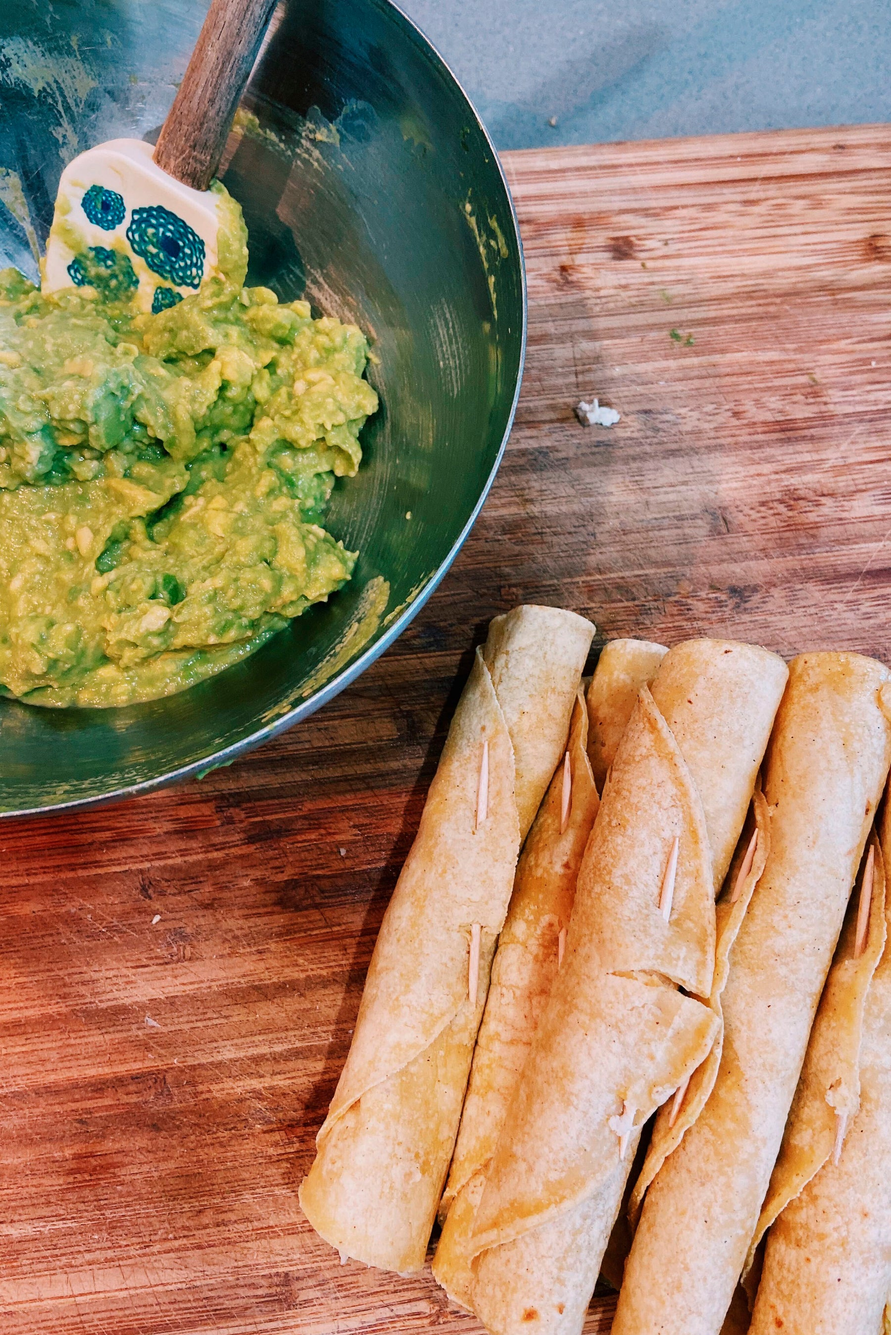 taquitos and guacamole
