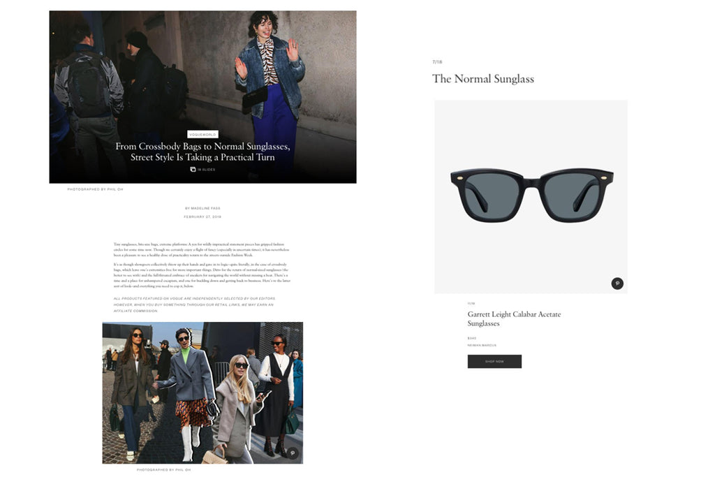 Garrett Leight Calabar sunglasses featured on Vogue.com