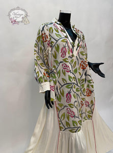 White dress with floral patterns - BabMakkah Stores