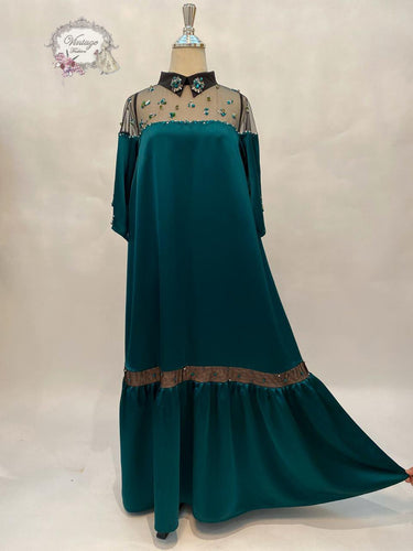 elegant dress in a teal color - BabMakkah Stores