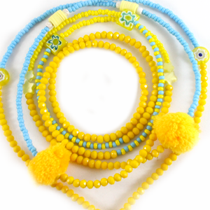 Yellow Seed Beads With Crystals - Phone Chain - BabMakkah Stores