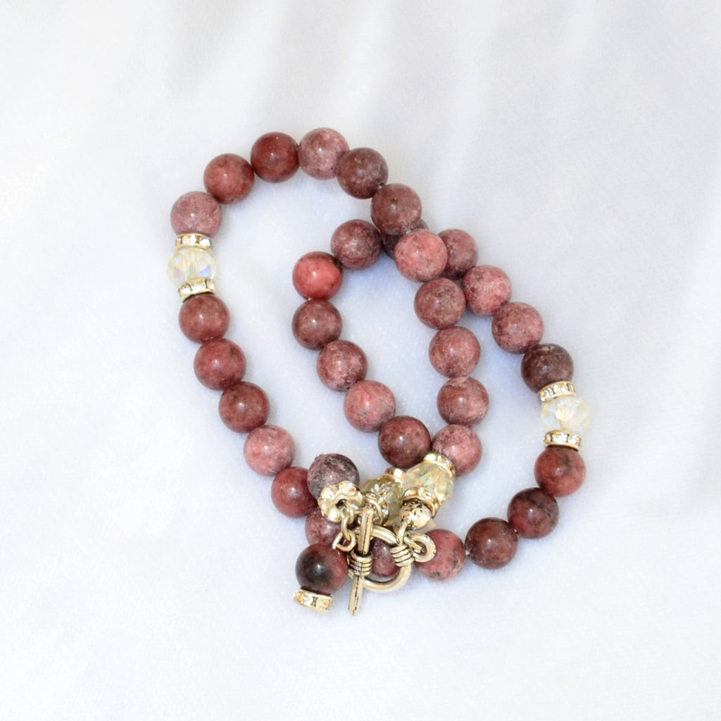A Bracelet Subha Rhodonite stone 33 rounded beads - BabMakkah Stores