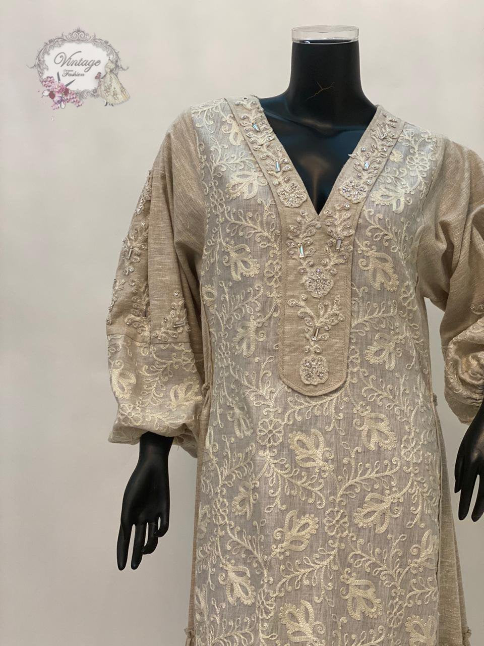 layered beige dress - BabMakkah Stores