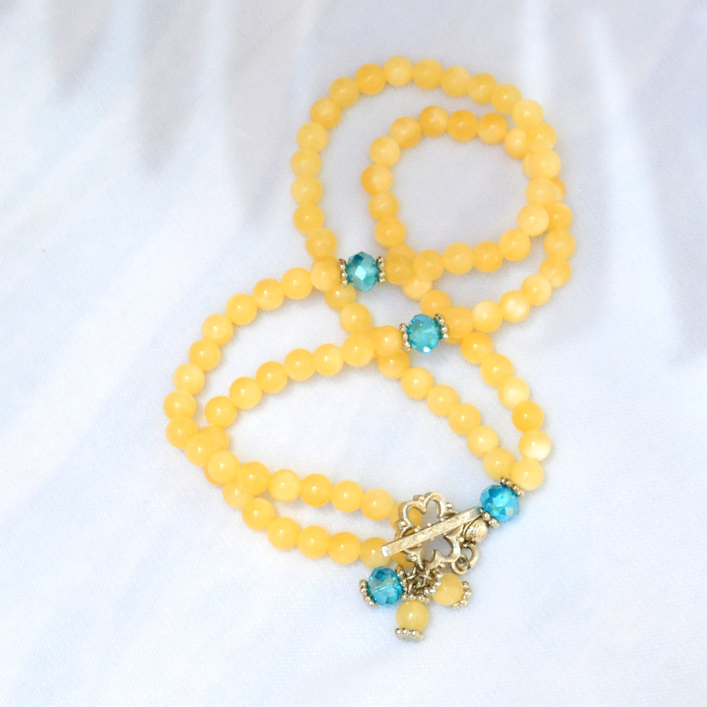 A Bracelet Subha Yellow Calcite stone 99 rounded beads - BabMakkah Stores