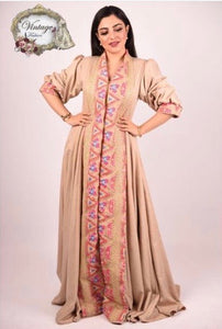 Vintage gold dress with pink print By Vintage Fashion - BabMakkah Stores