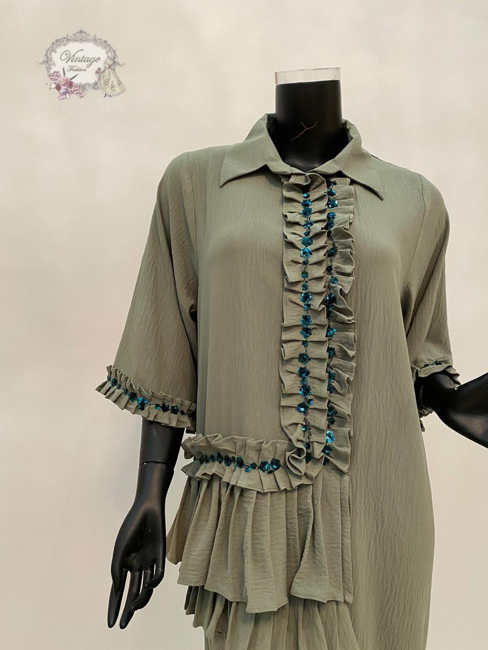 gray elegant dress - BabMakkah Stores