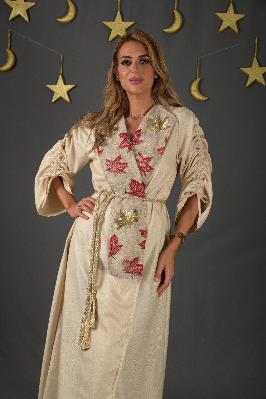 Beige Thob with Floral Collar By Daniah Albakri - BabMakkah Stores