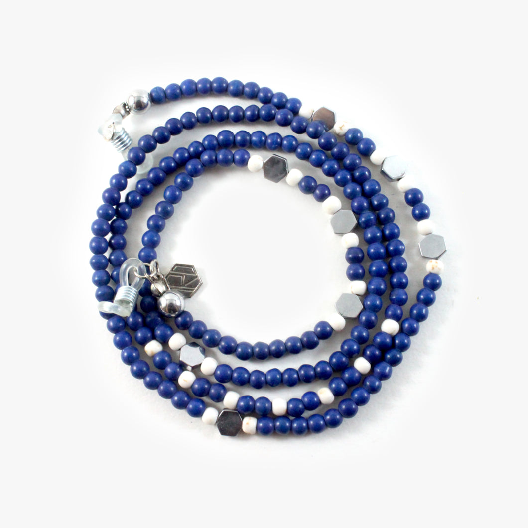 Blue Agate With 925 Sterling Silver - Eyewear Chain - BabMakkah Stores