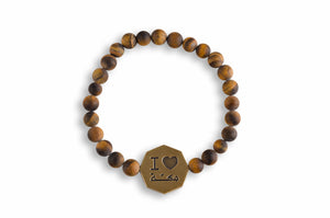 Frosted Tiger Eye Octagon I love Makkah Bracelet - Brown - BabMakkah Stores