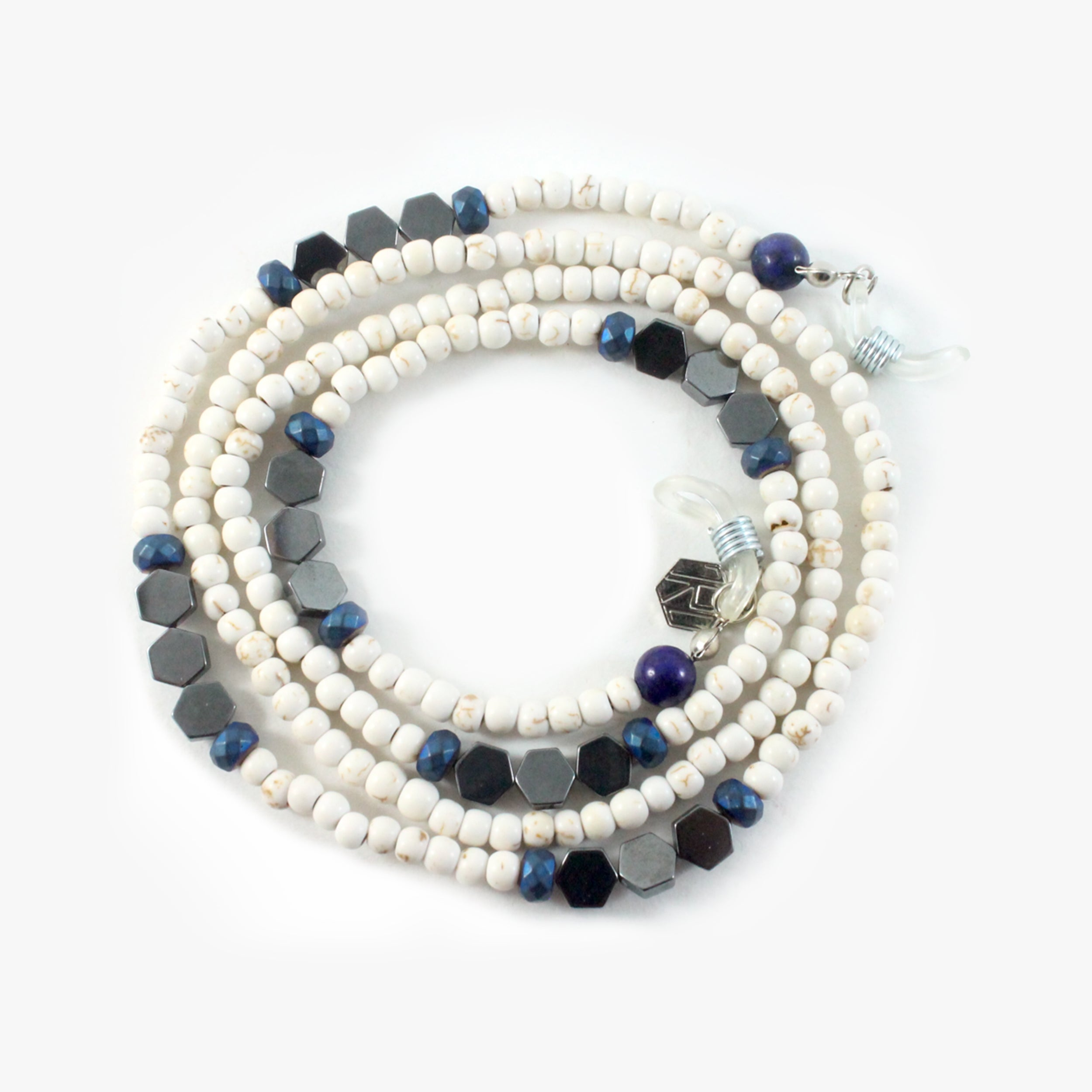 Howlite With Blue Crystals & 925 Sterling Silver - Eyewear Chain - BabMakkah Stores