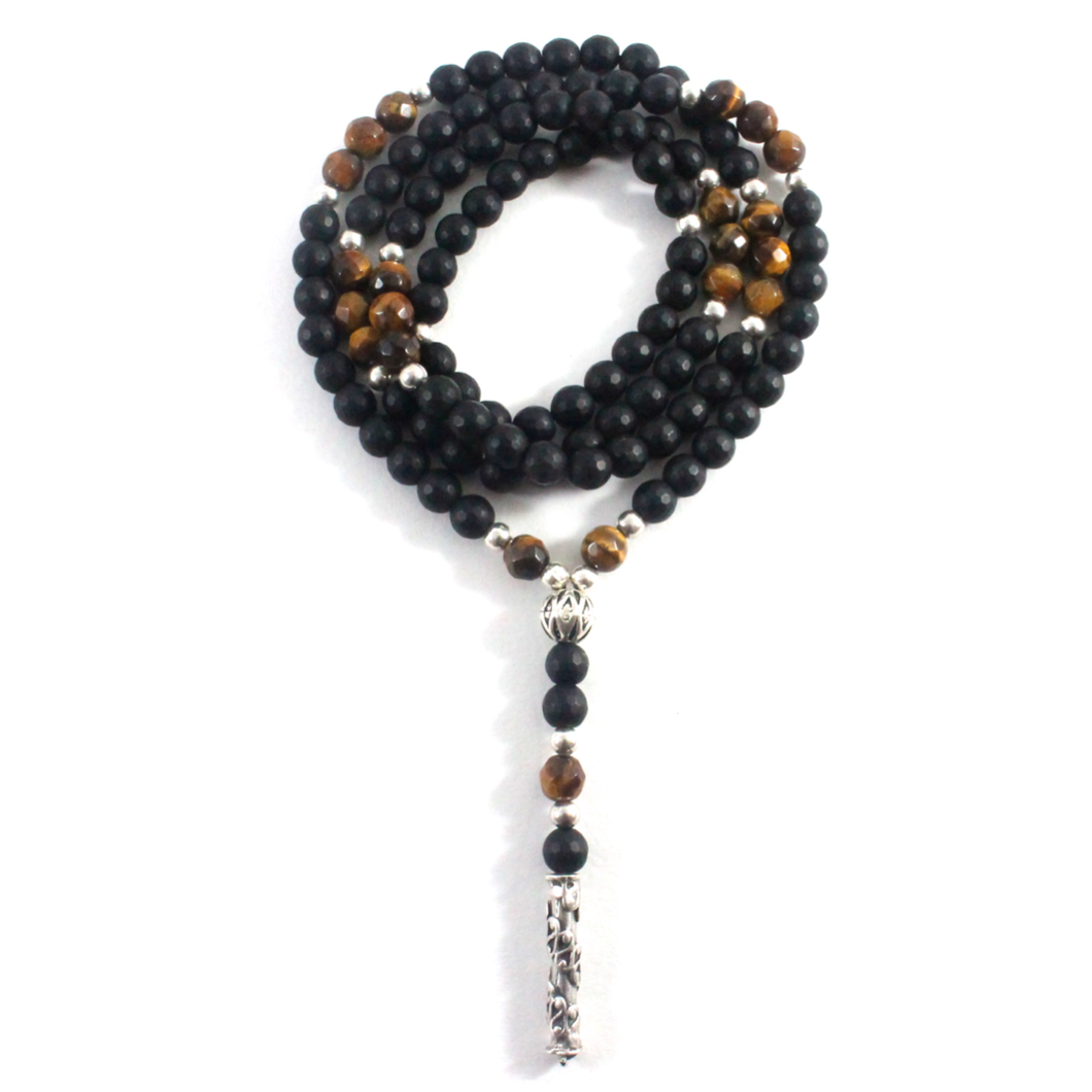 Onyx & Tiger's Eye Necklace - Chakra Collection - BabMakkah Stores