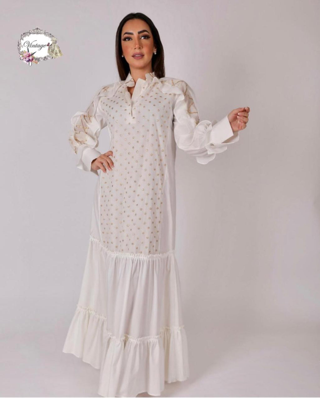 Vintage gold dots thobe By Vintage Fashion - BabMakkah Stores