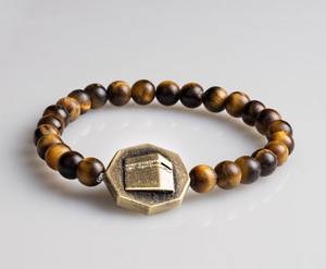 Octagon Frosted Tiger eye stone bracelet - Brown - BabMakkah Stores