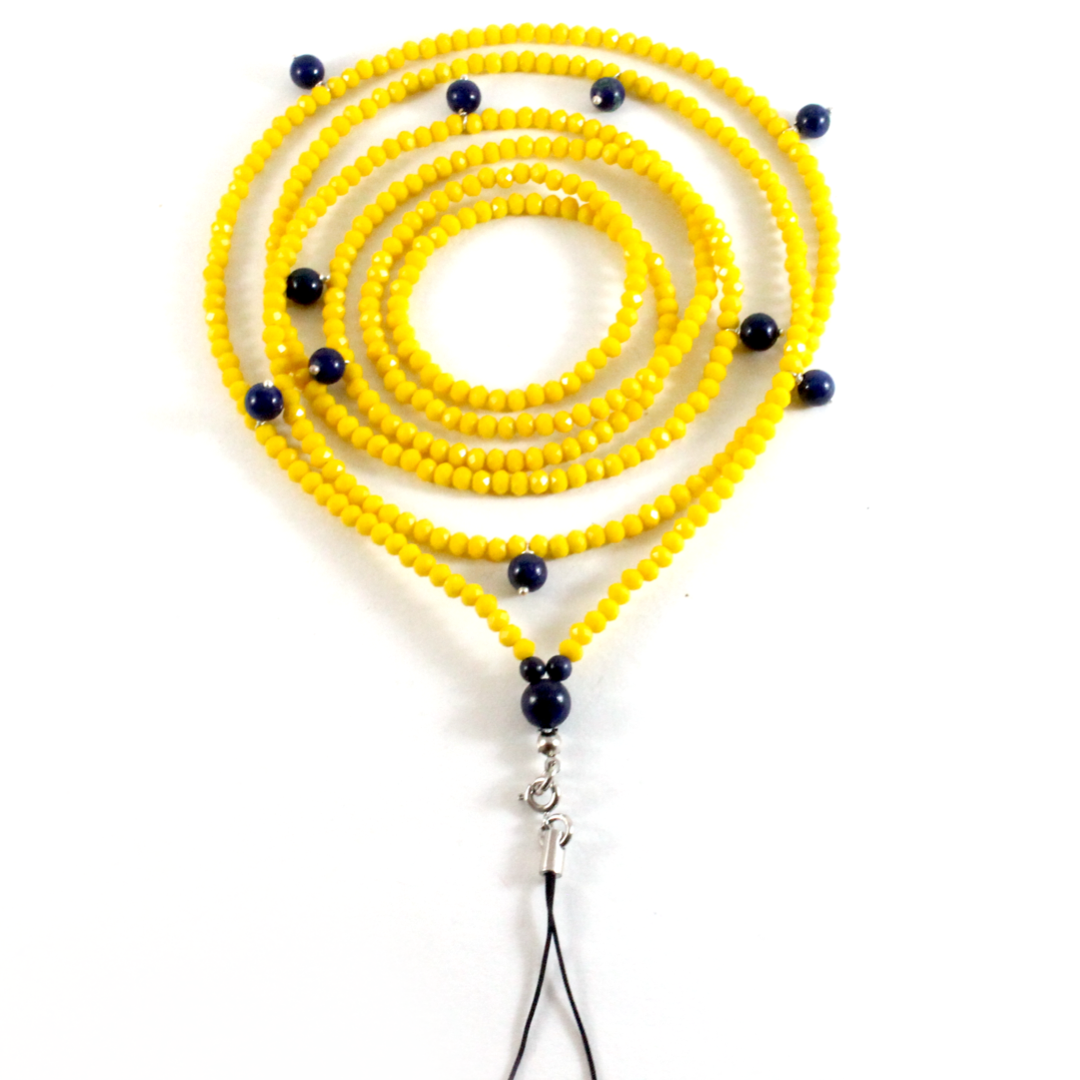 Yellow Crystals w/ Lapis Lazuli - Phone Chain - BabMakkah Stores