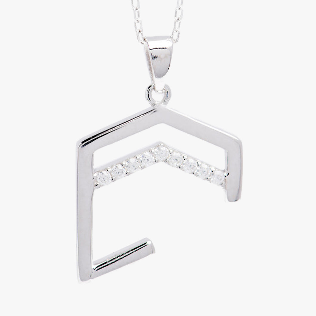 Small Abstract Kaaba necklace Silver plated with rhodium - BabMakkah Stores