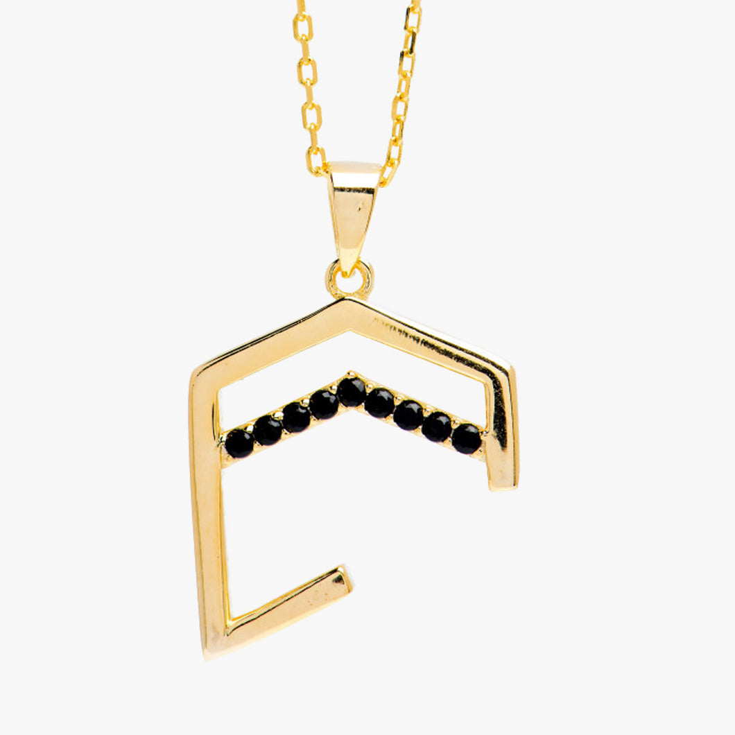Small Abstract Kaaba necklace plated with gold - BabMakkah Stores