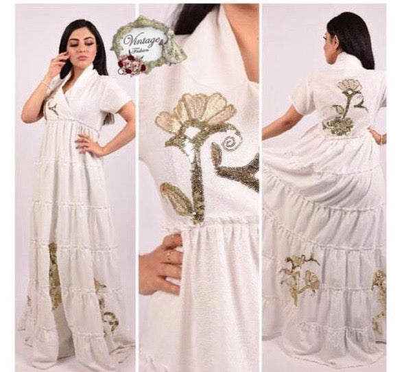 Vintage white dress with gold embroidery By Vintage Fashion - BabMakkah Stores