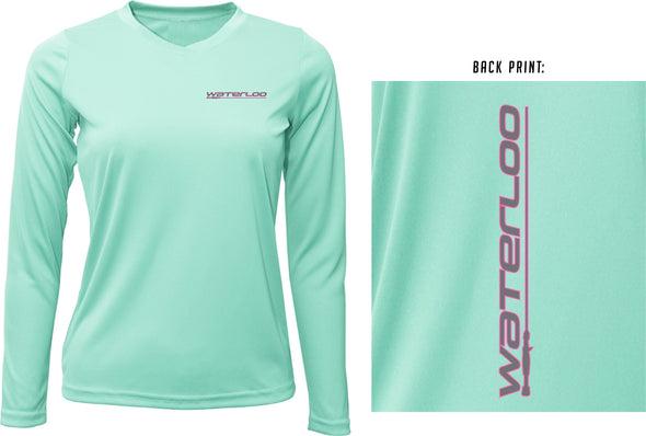 Women's Seafoam Waterloo Performance Shirt -Grey/Pink Performance Logo