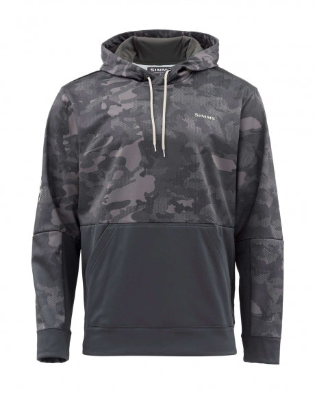 SIMMS Challenger Hoody Hex Flo Camo Carbon w/ Waterloo Performance Logo on Back