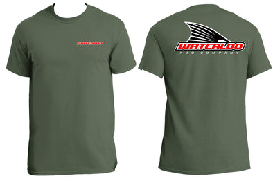 Waterloo Cotton Short Sleeve T-Shirt - Army Green - Tails Up Logo