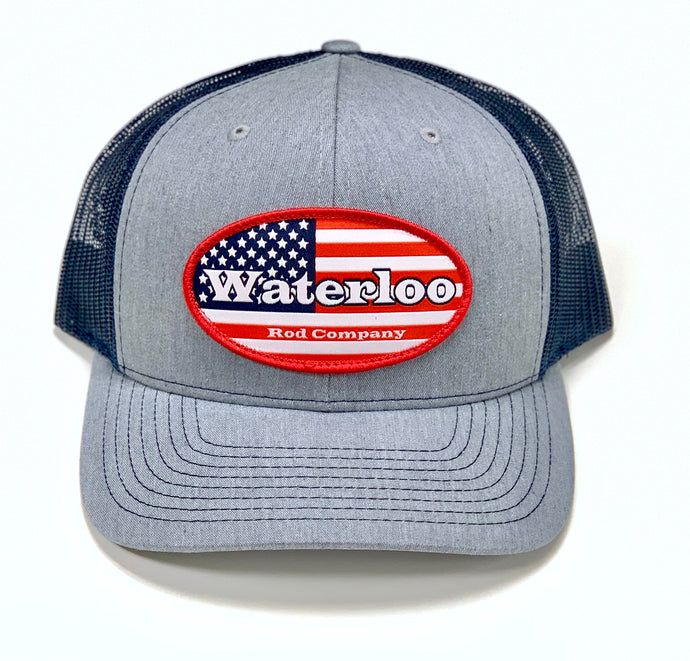 Heather Grey and Navy American Flag Cap