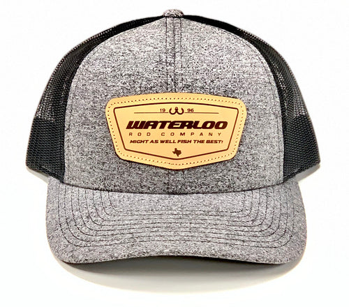 Waterloo Heather Black/Black Leather Patch Cap