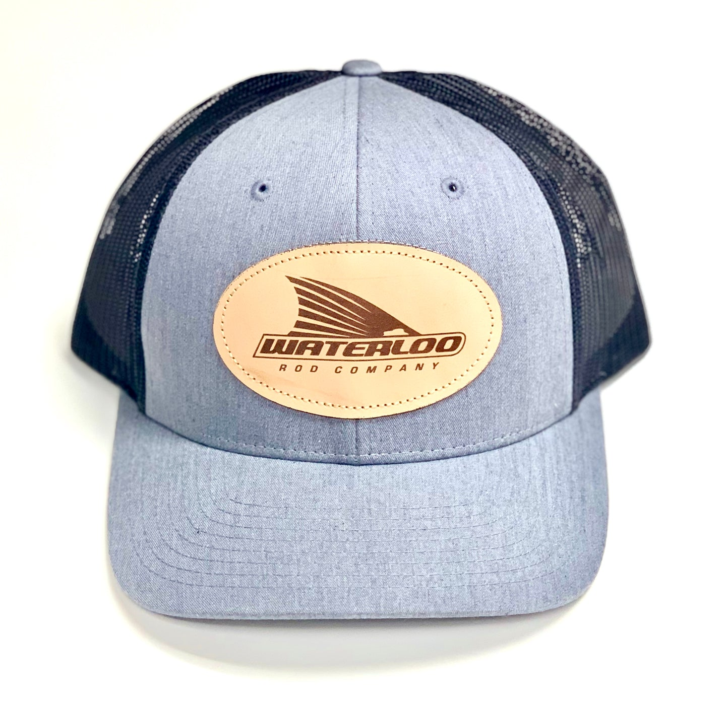 Waterloo Heather Grey/Dark Charcoal Leather Patch Cap
