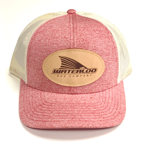 Waterloo Heather Red Leather Patch Cap