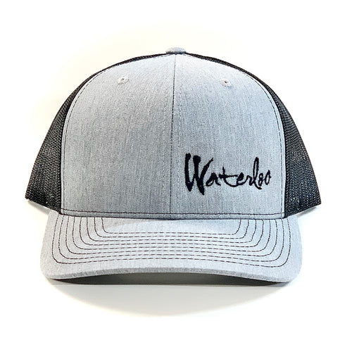 Waterloo Heather Grey and Black Script Cap