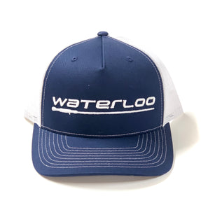 Waterloo Navy and White Cap-Performance Logo