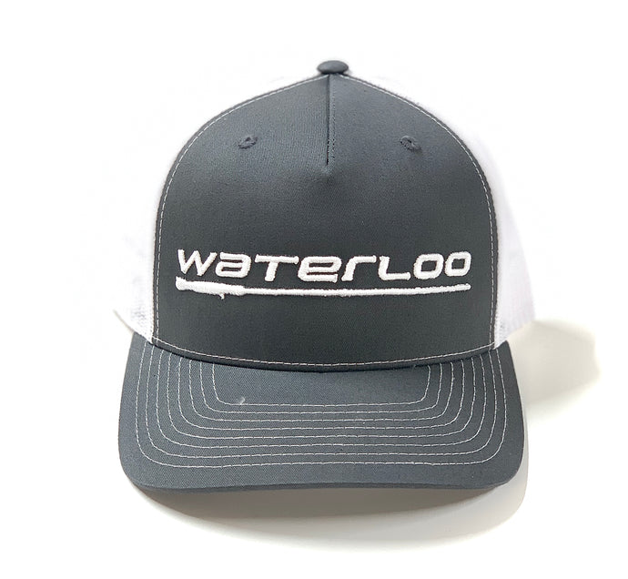 Waterloo Charcoal and White Cap-Performance Logo