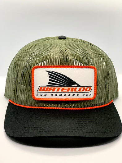 Waterloo Army Green Full Mesh Cap - Tails Up Logo