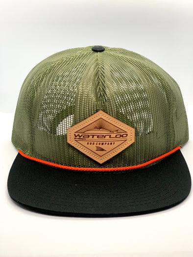 Waterloo Army Green Full Mesh Cap - Leather Patch