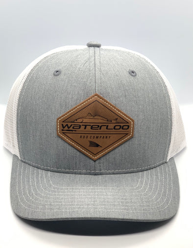 Waterloo Heather Grey and White Leather Patch Cap -  Diamond Patch