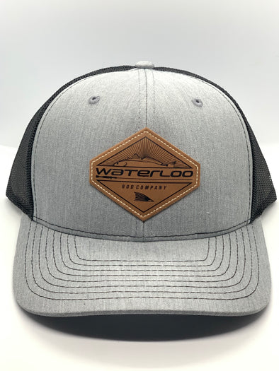 Waterloo Heather Grey and Black Leather Patch Cap -  Diamond Patch