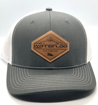 Waterloo Charcoal and White Leather Patch Cap -  Diamond Patch