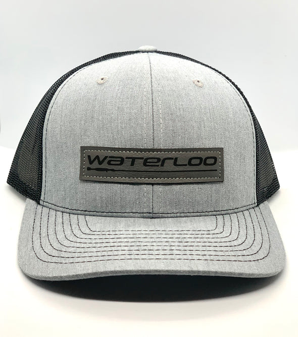 Waterloo Heather Grey and Black Cap - Grey Leather Performance Patch