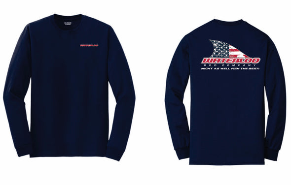 Waterloo Navy Cotton Long Sleeve Shirt - American Flag Tails Up Logo
