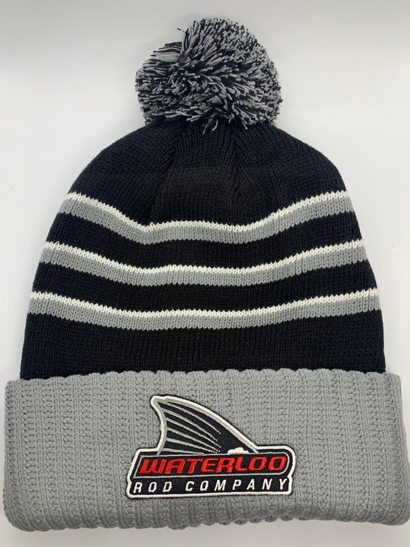 Waterloo Striped Pom Beanie with Waterloo Tails Up Patch