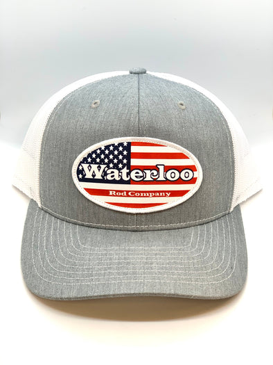 Waterloo Heather Grey and White Flag Cap - Oval Patch