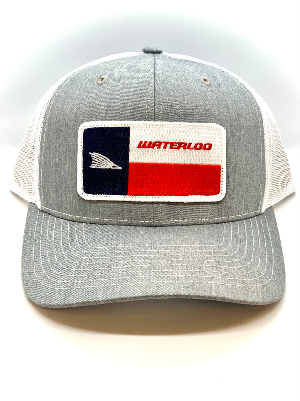 Waterloo Heather Grey and White Tails Up Flag Cap