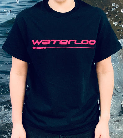 Waterloo Black Cotton Short Sleeve Shirt with Hot Pink Performance Logo on Front