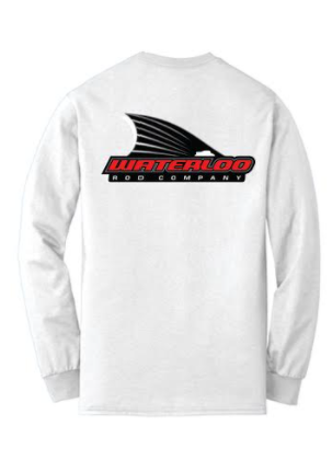 Waterloo Cotton Long Sleeve White Shirt- Tails Up Logo