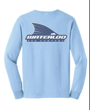 Waterloo Cotton Long Sleeve Light Blue Shirt- Tails Up Logo