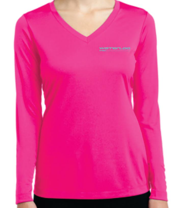 Waterloo Neon Pink Performance Shirt with Seafoam Performance Logo