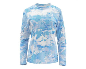 SIMMS Women's SolarFlex Crewneck- Cloud Camo Blue