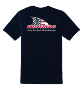 Waterloo Navy Cotton Short Sleeve Shirt - American Flag Tails Up Logo