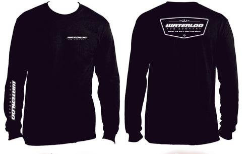 Waterloo Cotton Black Long Sleeve Shirt- Badge Logo